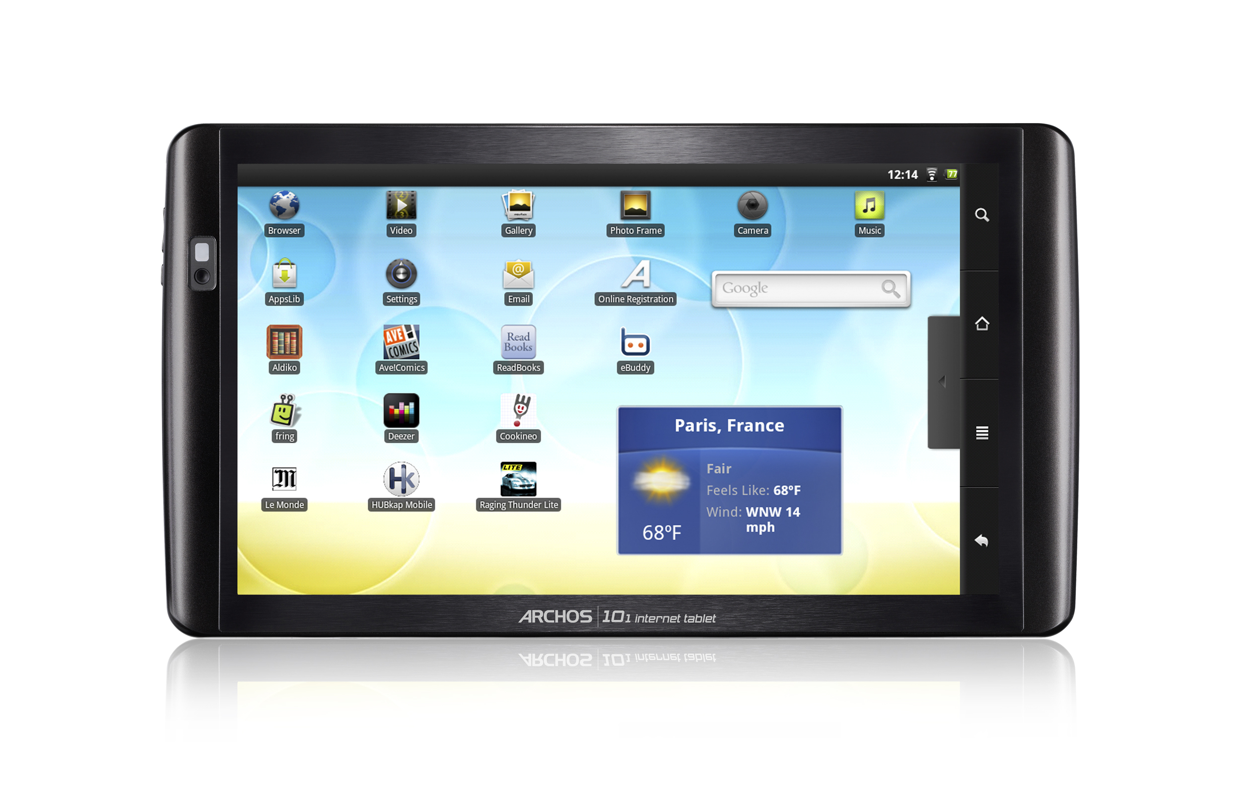 Archos 101 Internet tablet touch screen showing home page (1.68MB jpg