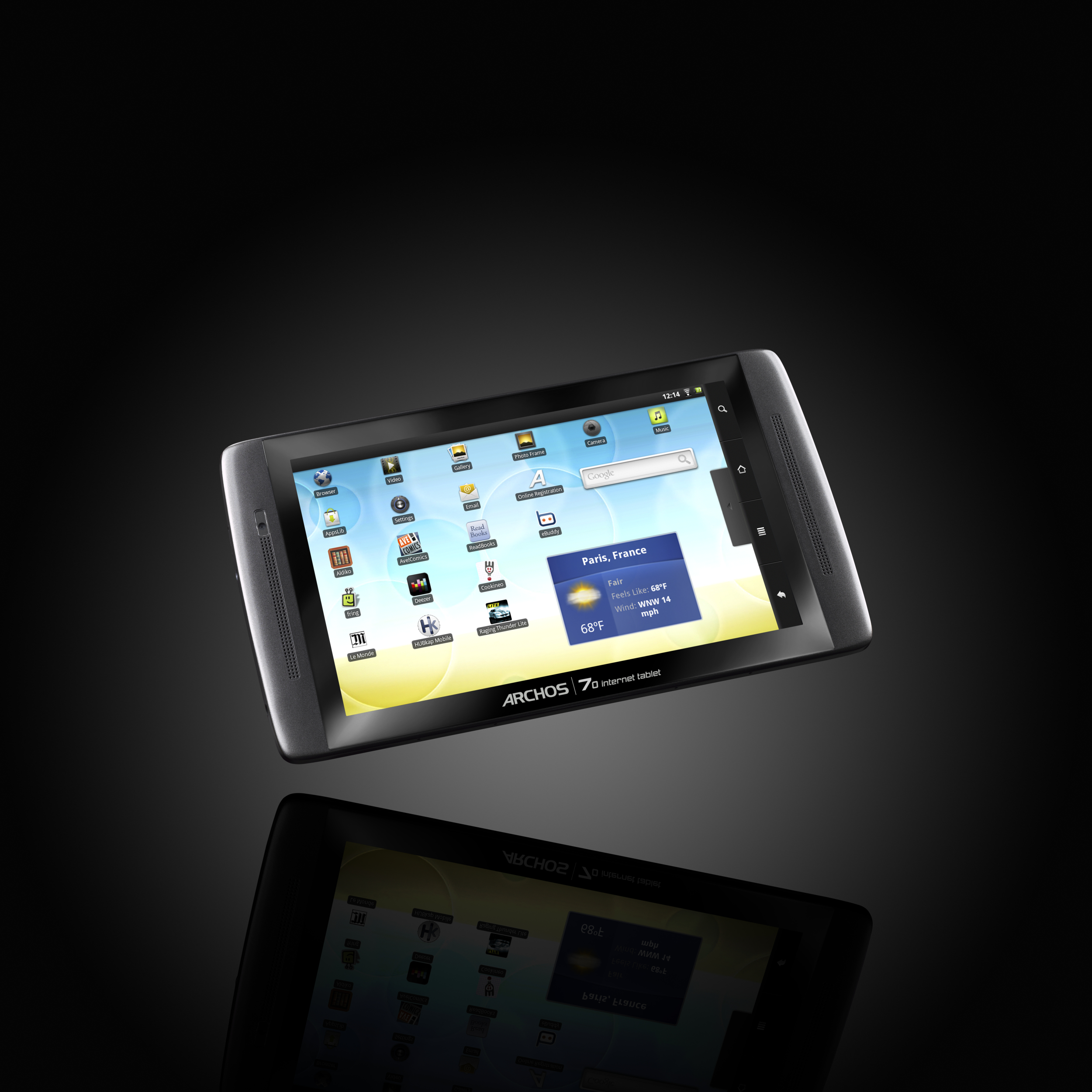 View hires photo of Archos 70 Internet tablet touch screen against ambient  background (2.28MB