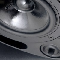 Krix Atmospherix A-20 angled 2-way in-ceiling speaker photo with grille removed (224KB jpg).